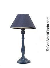 azul, lámpara, aislado, piso