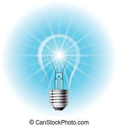 azul, lámpara, luz