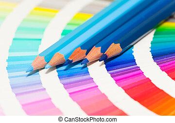 azul, lápices, todos, coloreado, tabla de apariencia, colores