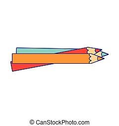 azul, lápis, escola, jogo, linhas, utensílios, cores