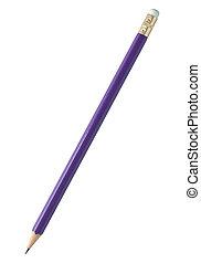 azul, lápiz, aislado, blanco