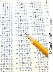 azul, lápiz, scantron, numere dos, prueba, burbuja