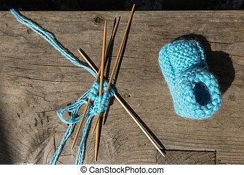 azul, lã, tricotando, meias