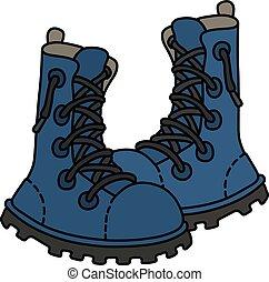 azul, laço, sapatos