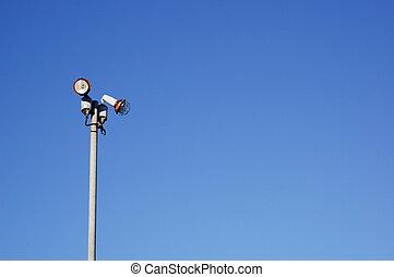 azul, lamppost, cielo, plano de fondo