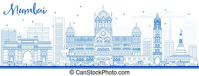 azul, landmarks., skyline, esboço, mumbai