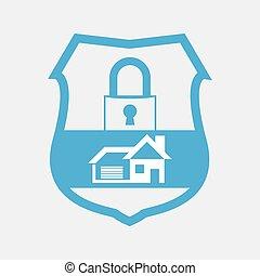 azul, lar, botão, segurança, fechadura