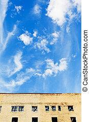 azul, lar, furbished, céu, acima