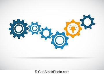 azul, laranja, tecnologia, idéia, engrenagens