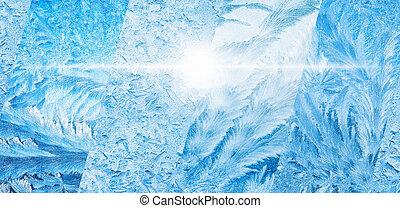 azul, largo, inverno, colagem, congelado, gelado, fundo, janelas