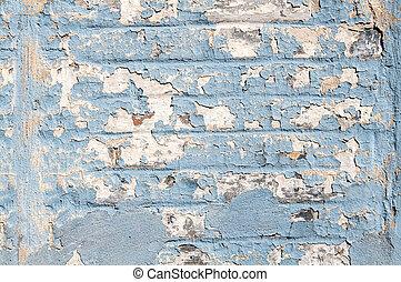 azul, lascado, antigas, parede, pintura, textured