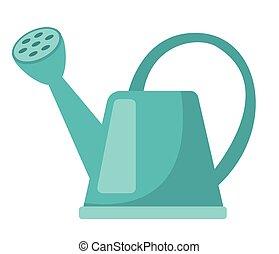azul, lata molhando, vetorial, caricatura, illustration.