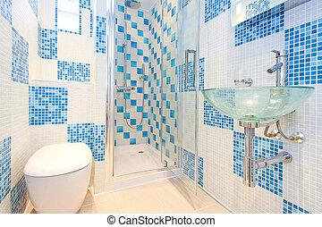 azul, lavabo, 2
