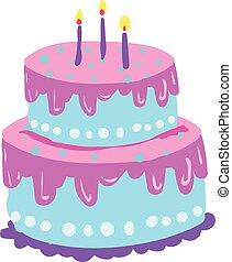 azul, layered-cake, cor, velas, dois, ilustração, desenho, decoração, glowing, vetorial, violeta, ou
