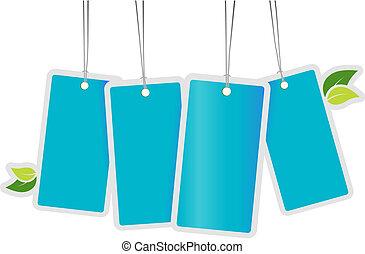azul, leafs., vetorial, arte, etiquetas