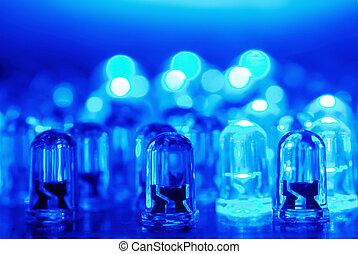 azul, leds