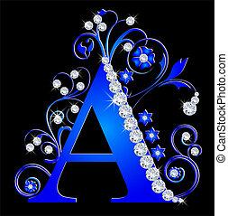 azul, letra, capital