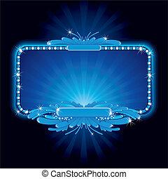azul, letrero de gas de neón
