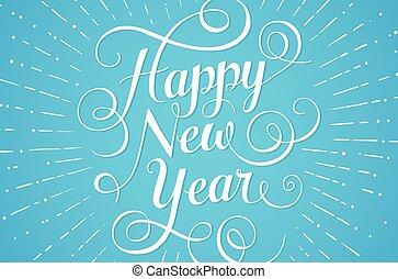 azul, lettering, illustration., saudação, experiência., vetorial, ano, novo, branca, cartão, feliz