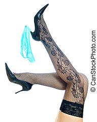 azul, levantado, piernas, heel., aislado, arriba, hembra negra, medias, sexy, blanco, bragas