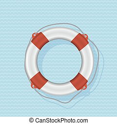 azul, lifebuoy, fondo rojo