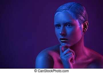azul, light., marca, neón, arriba, joven, fondo oscuro, modelo, creativo, desnudo