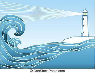 azul, lighthous, seascape, ilustração, vetorial, horizon.