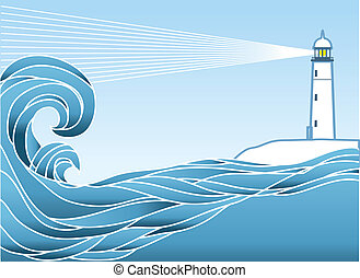 azul, lighthous, vista marina, ilustración, vector, horizon.