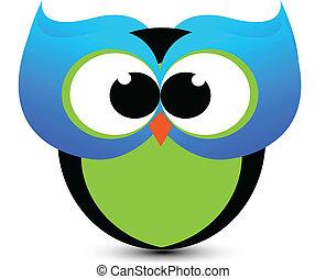 azul, lindo, búho, logotipo