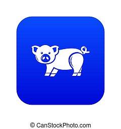 azul, lindo, cerdo, icono