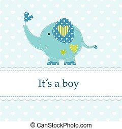 azul, lindo, fiesta de nacimiento, elefante