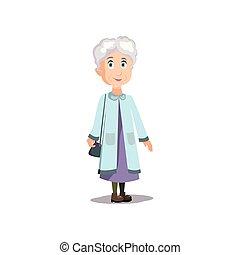 azul, lindo, mujer, viejo, chamarra, listo, sonriente