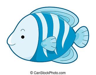 azul, lindo, pez
