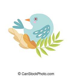 azul, lindo, sentado, luz, símbolo, ilustración, árbol, vector, rama, primavera, pájaro