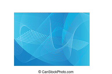 azul, linha arte, &, halftone, fundo