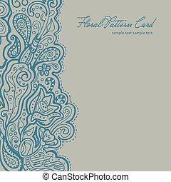 azul, lino, brocado, tarjeta