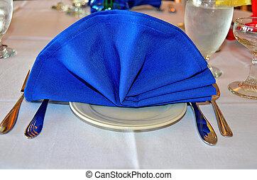 azul, lino, servilleta