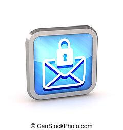 azul, listrado, ícone, com, letra, e, fechadura, ligado, um,...