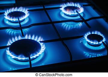 azul, llamas, abrasador, estufa, gas, cocina
