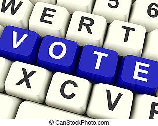 azul, llaves, actuación, elecciones, computadora, voto, opciones, o