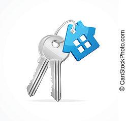 azul, llaves, llavero, casa