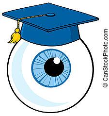 azul, llevando, gorra, globo ocular