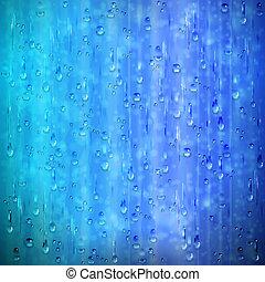 azul, lluvioso, ventana, plano de fondo, con, gotas, y,...