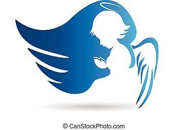 azul, logotipo, ángel