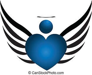 azul, logotipo, anjo