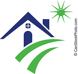 azul, logotipo, casa
