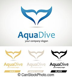 azul, logotipo, cola de los pescados, icono