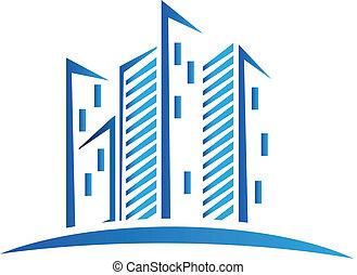 azul, logotipo, edifícios, modernos