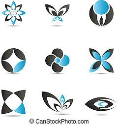 azul, logotipo, elementos