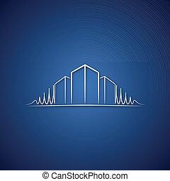 azul, logotipo, encima, arquitecto